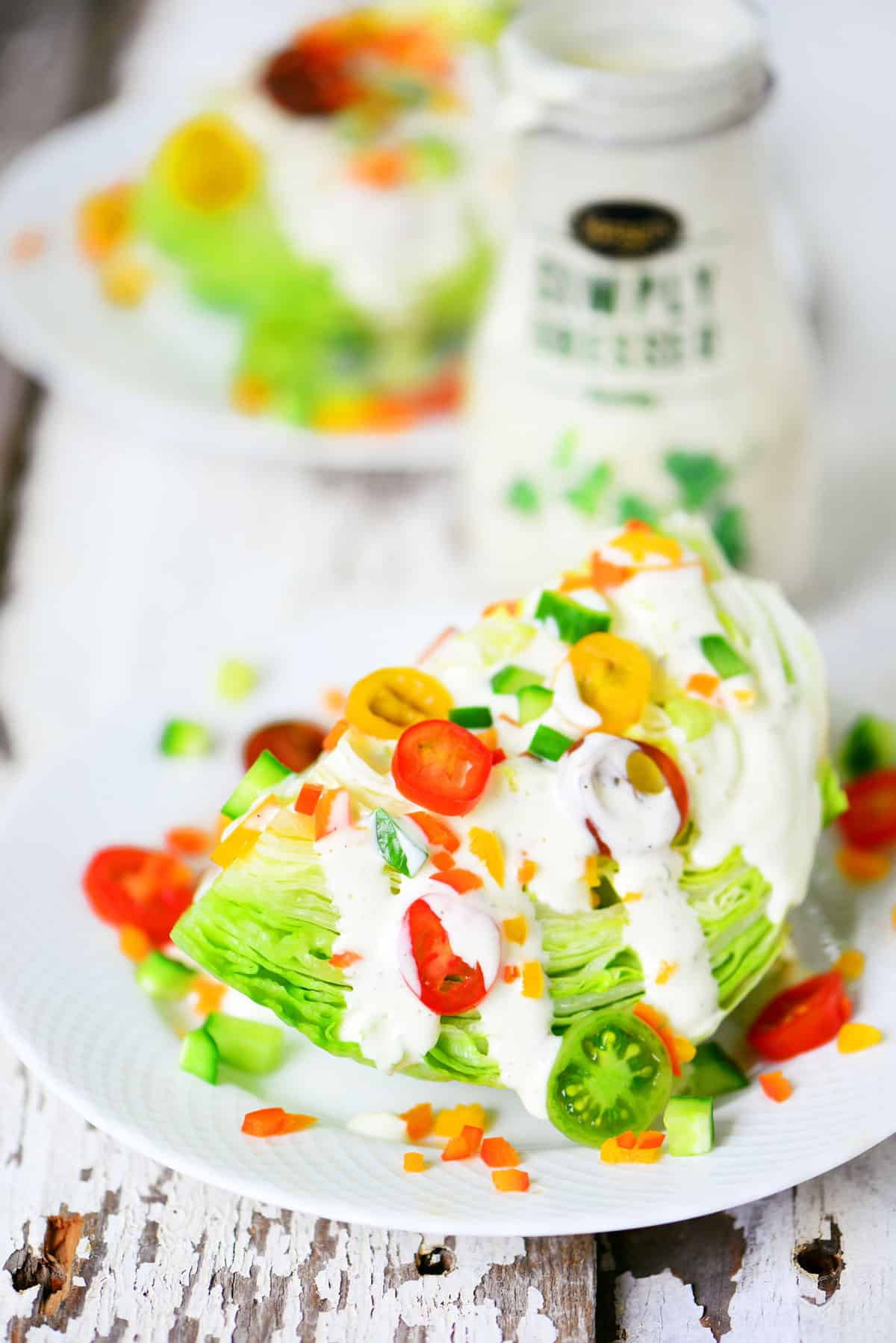 colorful wedge salad with ranch dressing