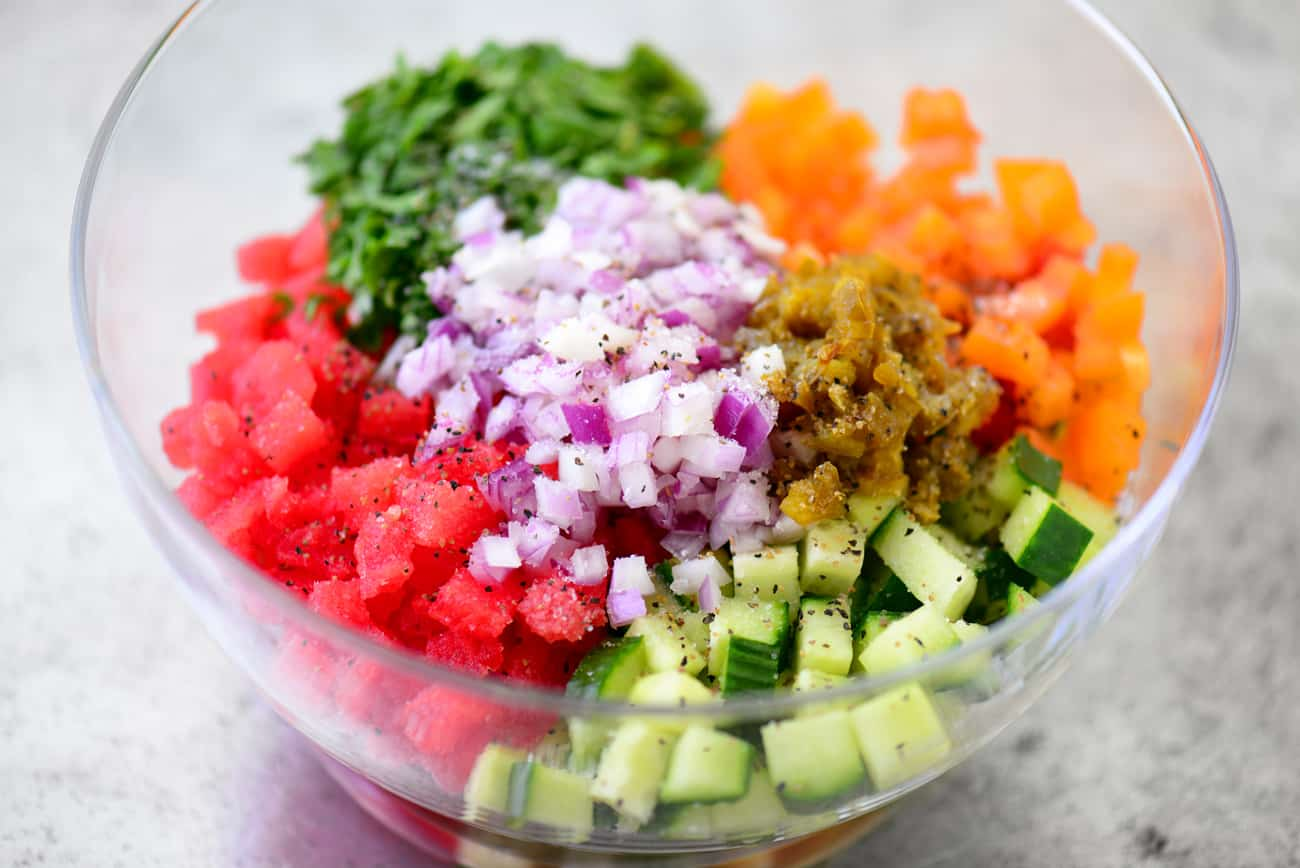 watermelon salsa ingredient in bowl