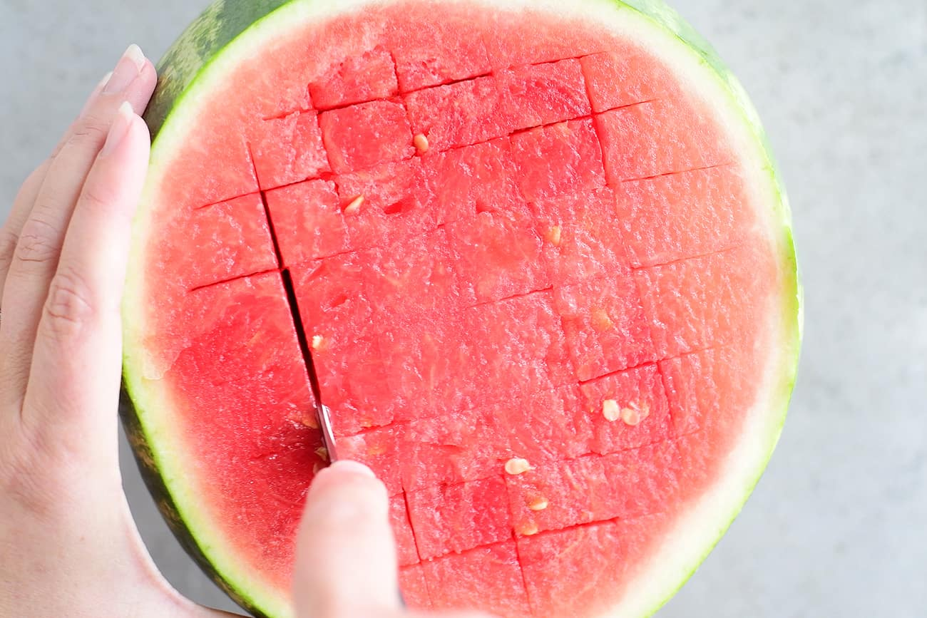 watermelon salsa crosshatch cuts