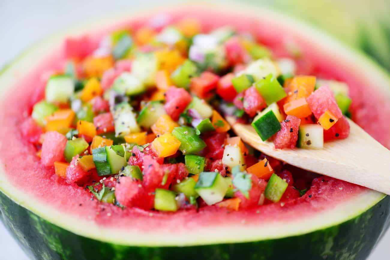 watermelon salsa in watermelon bowl