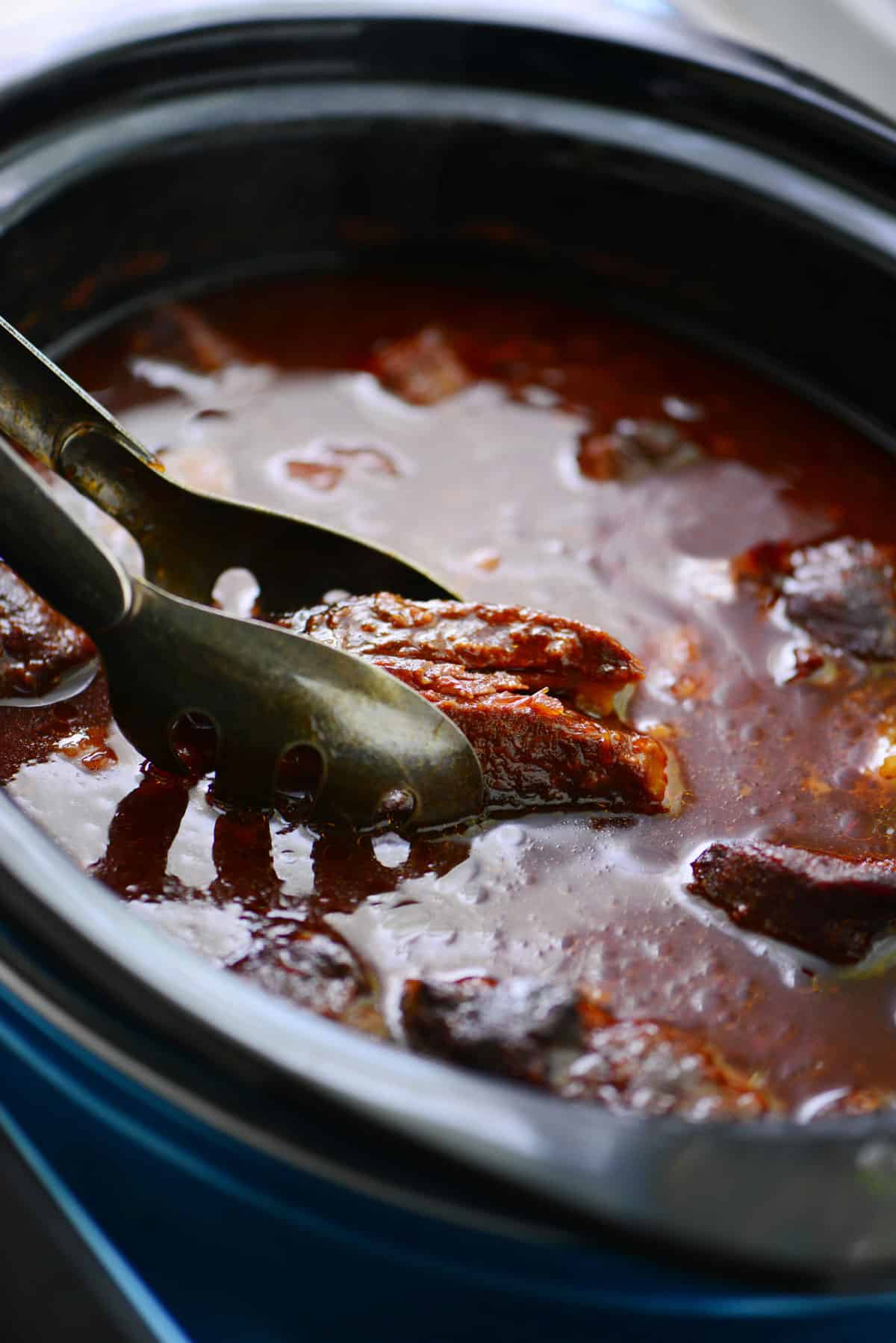 slow cooker grape jelly ribs in a crock pot