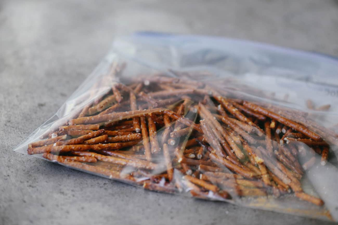 salted pretzel sticks in a zip top bag