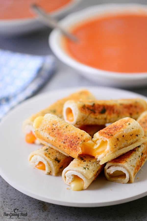 Parmesan Crusted Grilled Cheese Rolls