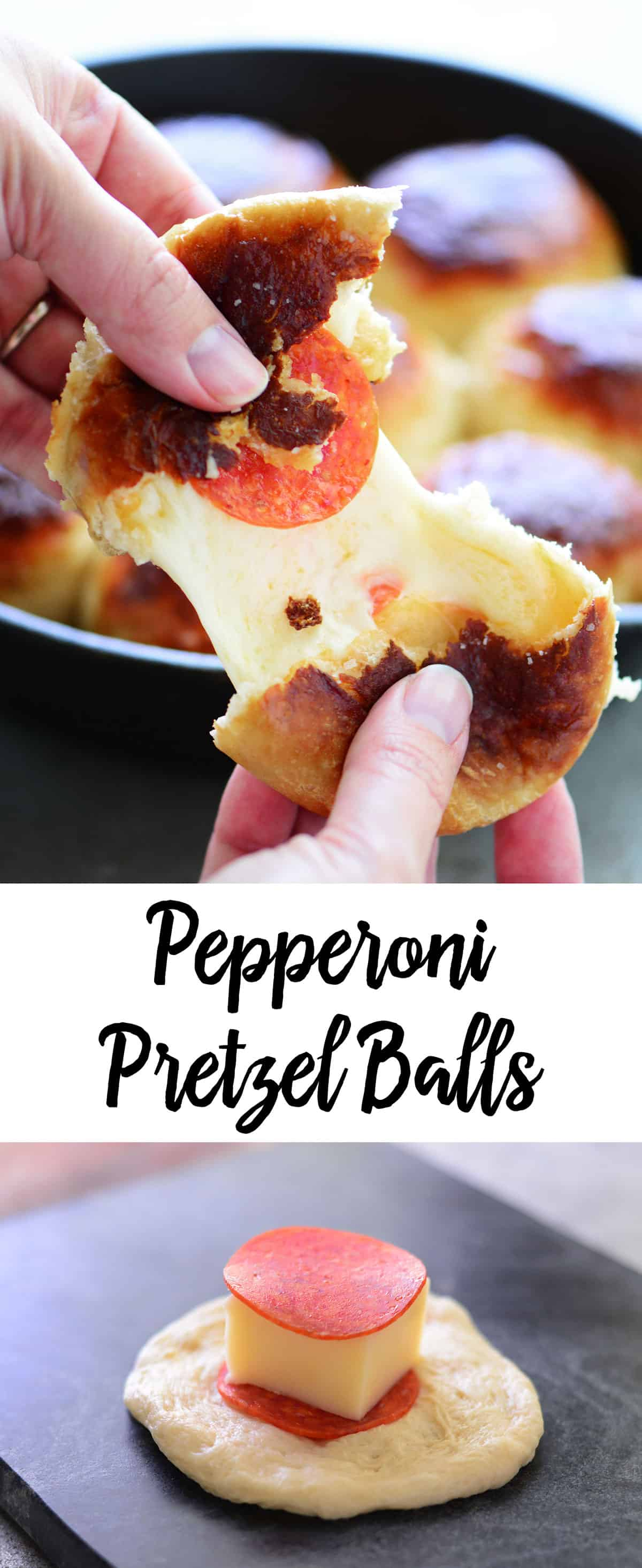 collage of pepperoni pretzel balls photos