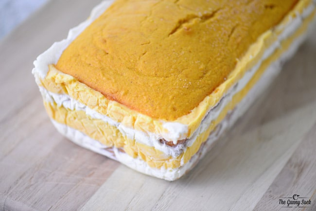 Layered Pumpkin Ice Cream Loaf Cake