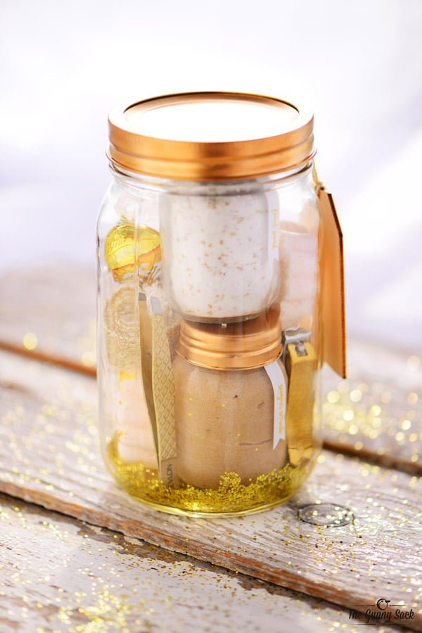 Golden Pampering Mason Jar
