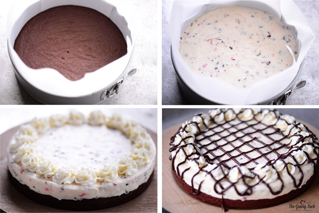 Peppermint Cheesecake with a Brownie Crust Recipe