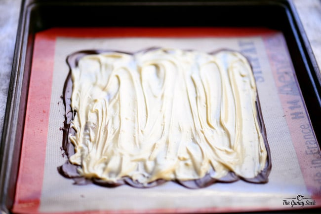 White Chocolate Layer of Peppermint Swirl Bark