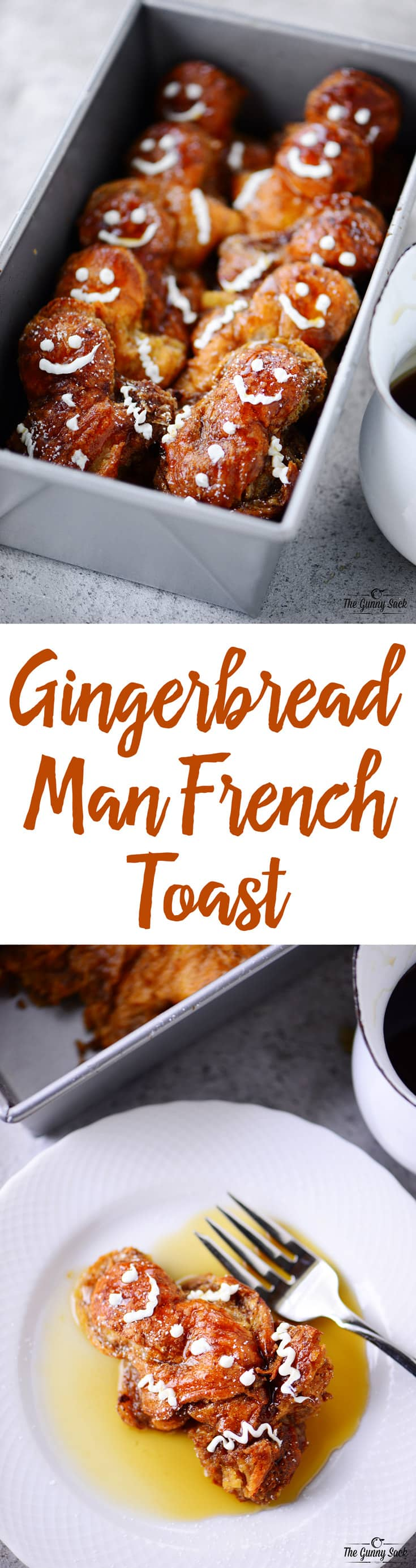 This Gingerbread Man French Toast recipe is perfect for Christmas morning or for a fun weekend breakfast during the holiday season. Your kids will love the idea of eating gingerbread men for breakfast! #holidaybrunch #breakfast