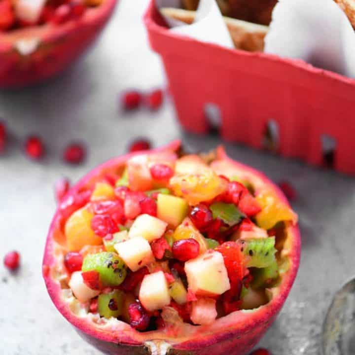 Pomegranate Fruit Salsa with Cinnamon Chips