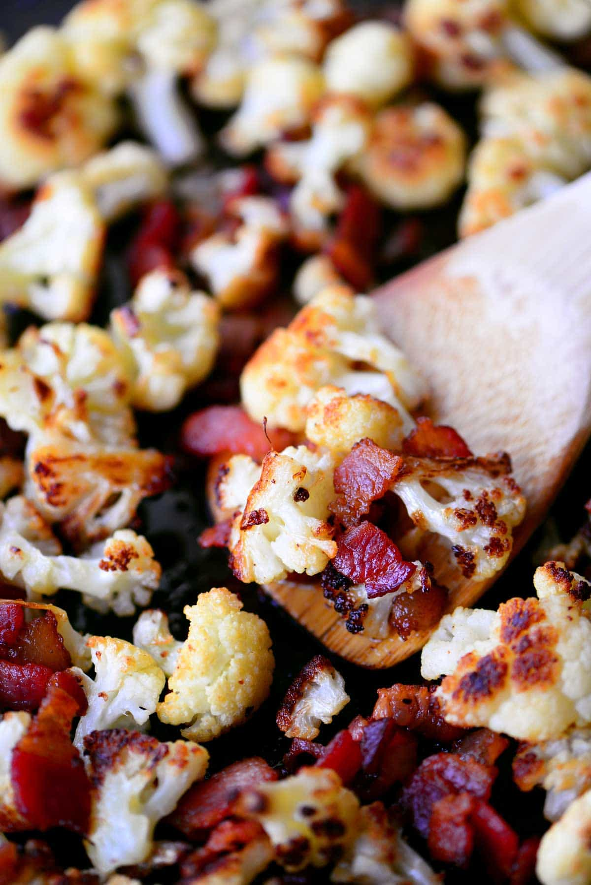 bacon roasted cauliflower spoonful