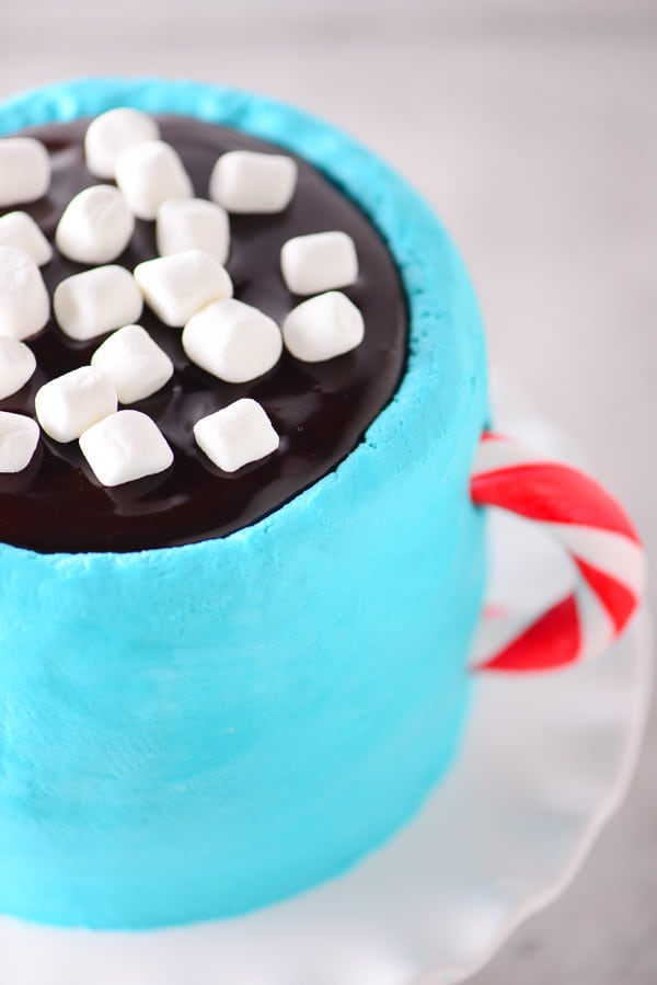 hot chocolate mug cake with candy cane handle