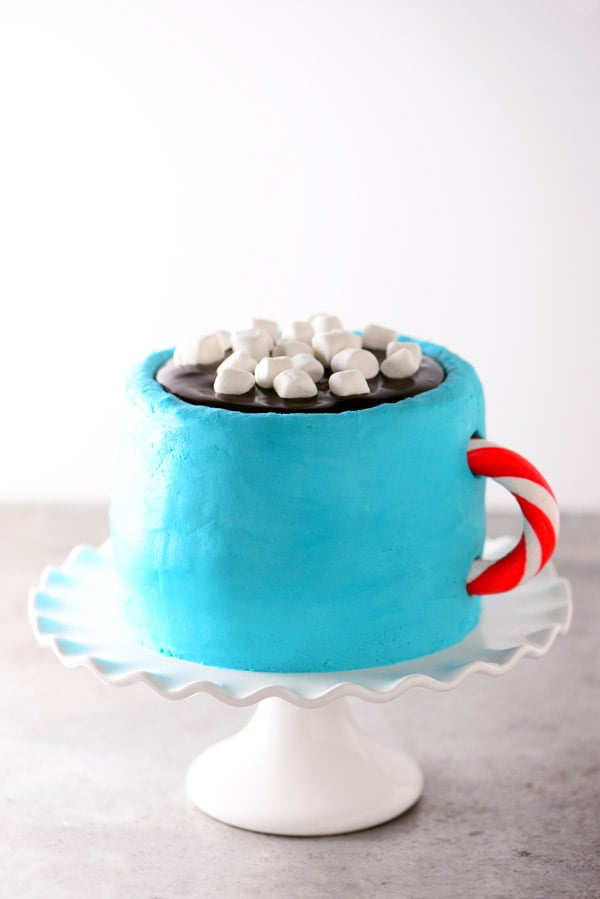 hot cocoa cake on a white cake stand