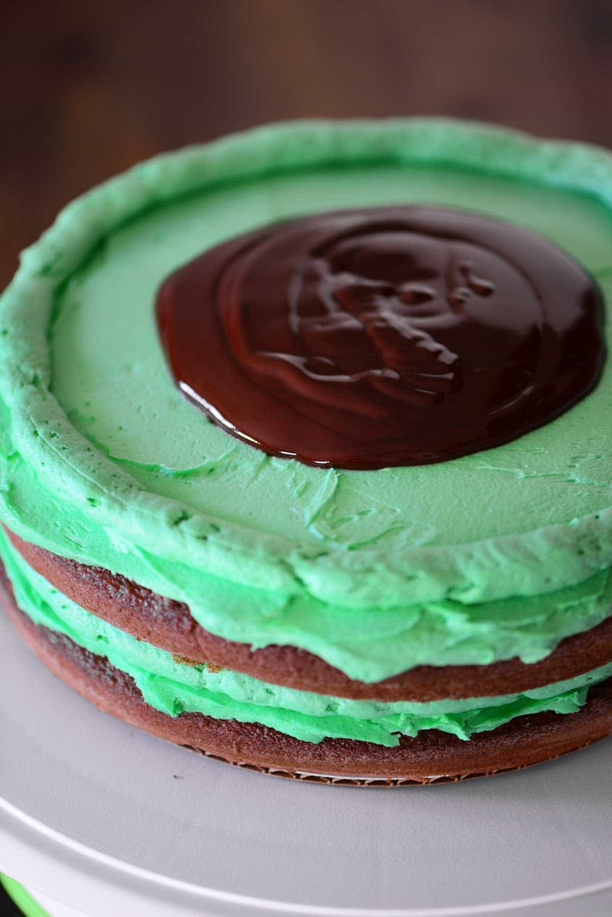 frosting a chocolate mint layer cake