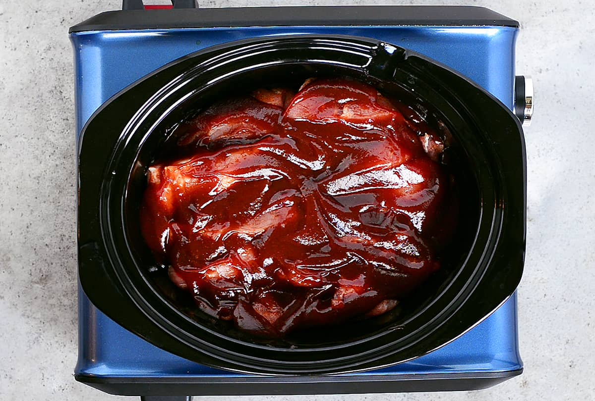 sauce covered slow cooker barbecue ribs