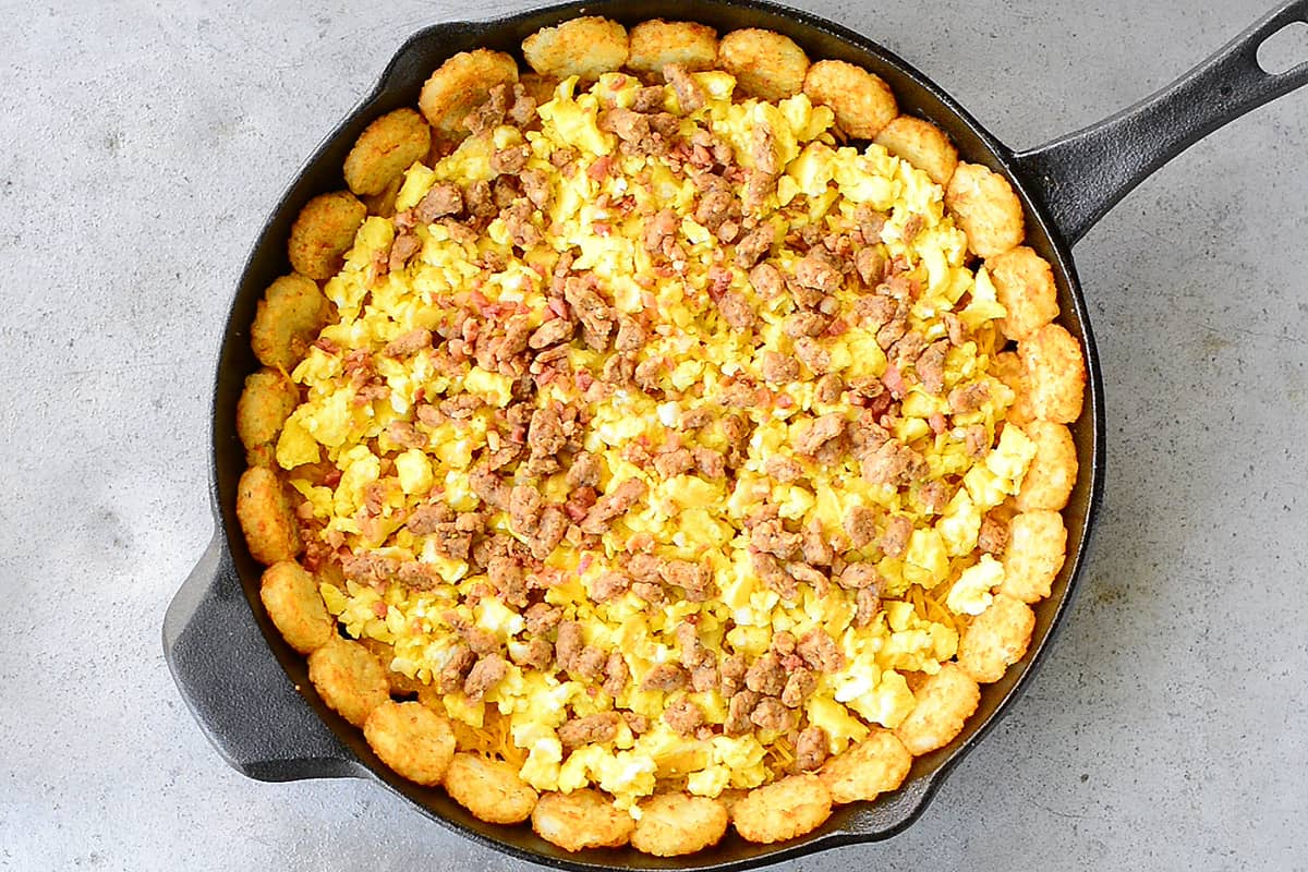 Sausage On Top Of The Eggs, Cheese and Tater Tots