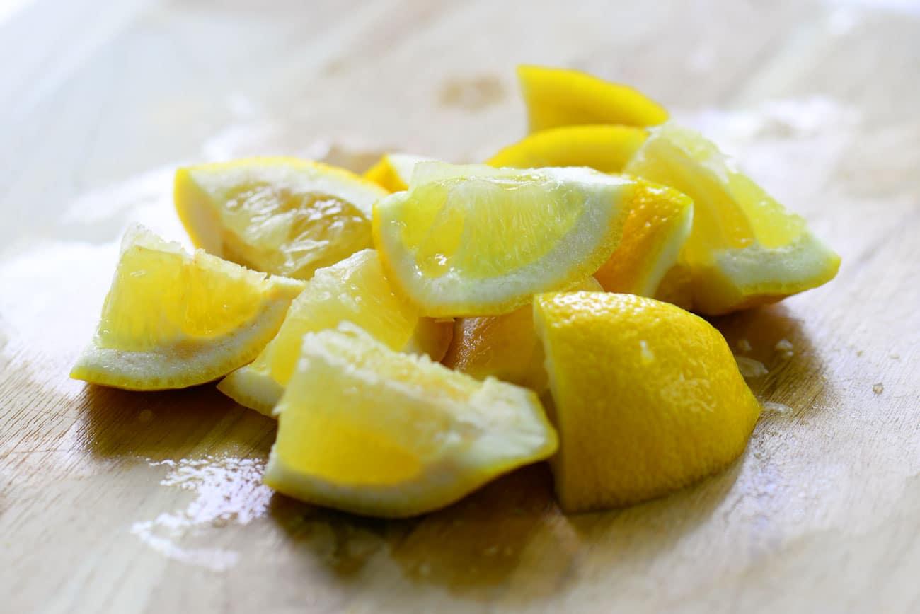 quartered lemons