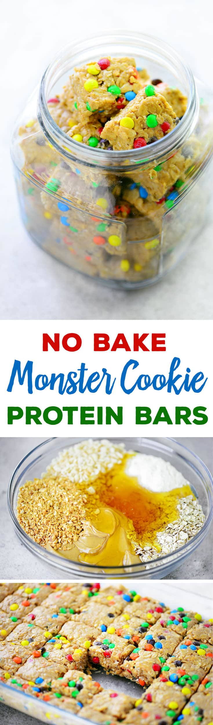 These No Bake Monster Cookie Protein Bars are a chewy, crunchy, delicious breakfast. These energy bites also are a great snack option! #breakfast #energybites