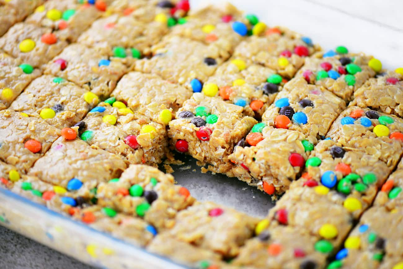 No Bake Monster Cookie Protein Bars in pan
