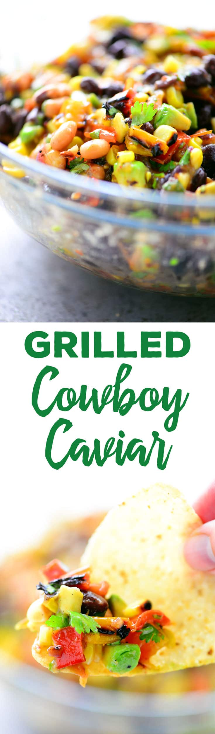 This Grilled Cowboy Caviar recipe is a healthy appetizer full of flavor and protein. The grilled veggies are a fabulous addition to this classic salsa.