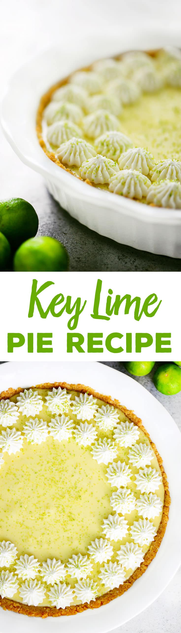 This homemade Key Lime Pie recipe is sweet and tart with a graham cracker and macadamia nut crust.