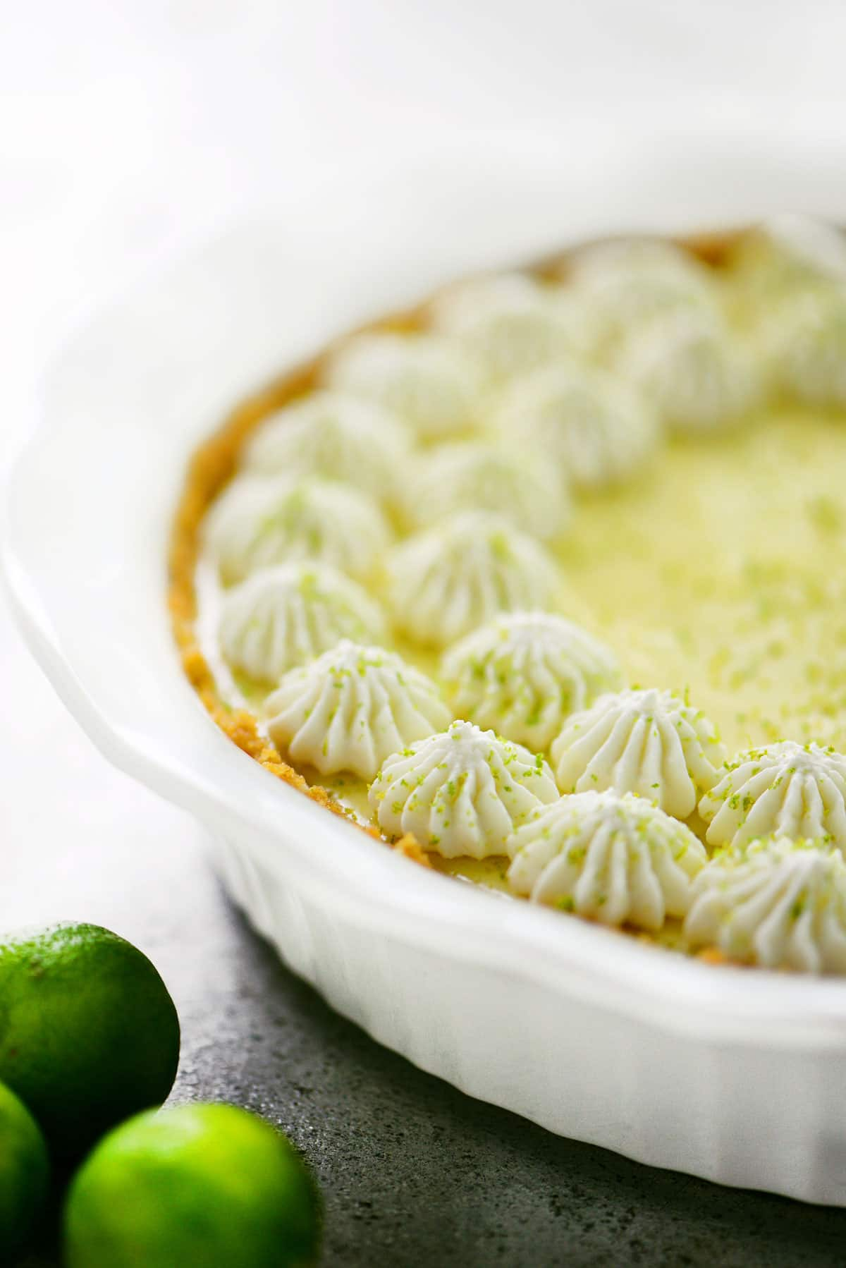 Key Lime Pie in white pie plate