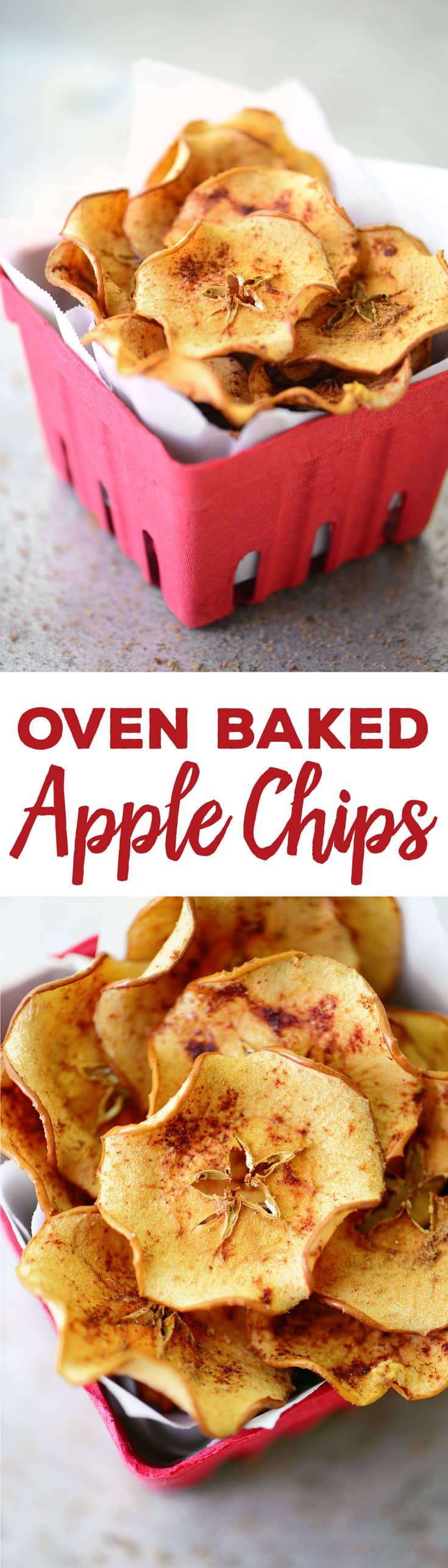 Baked Apple Chips are simple to make with only four ingredients. These crispy, crunchy snacks are perfect for when you are craving something sweet.