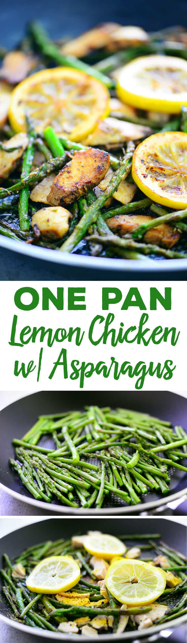 This One Pan Lemon Chicken with Asparagus is full of flavor and done in only 10 minutes! A great way to use leftover chicken or make with rotisserie chicken.
