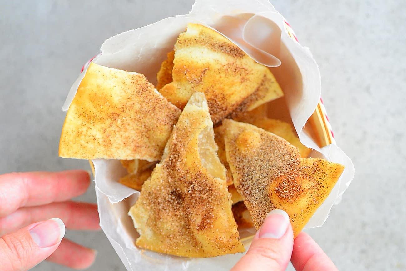cinnamon chips in apple nachos basket