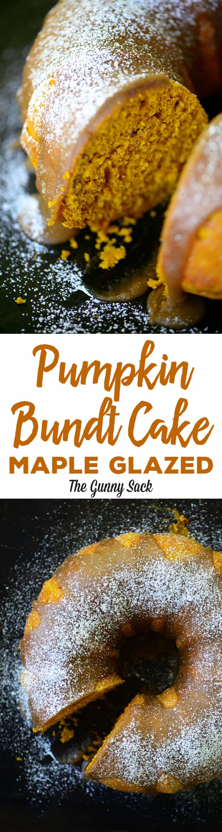 A moist Pumpkin Bundt Cake with a Maple Glaze. It's fast and easy to make with pumpkin puree and a cake mix. The bundt pan shape is gorgeous on a cake plate. #pumpkincake #pumpkincrecipes