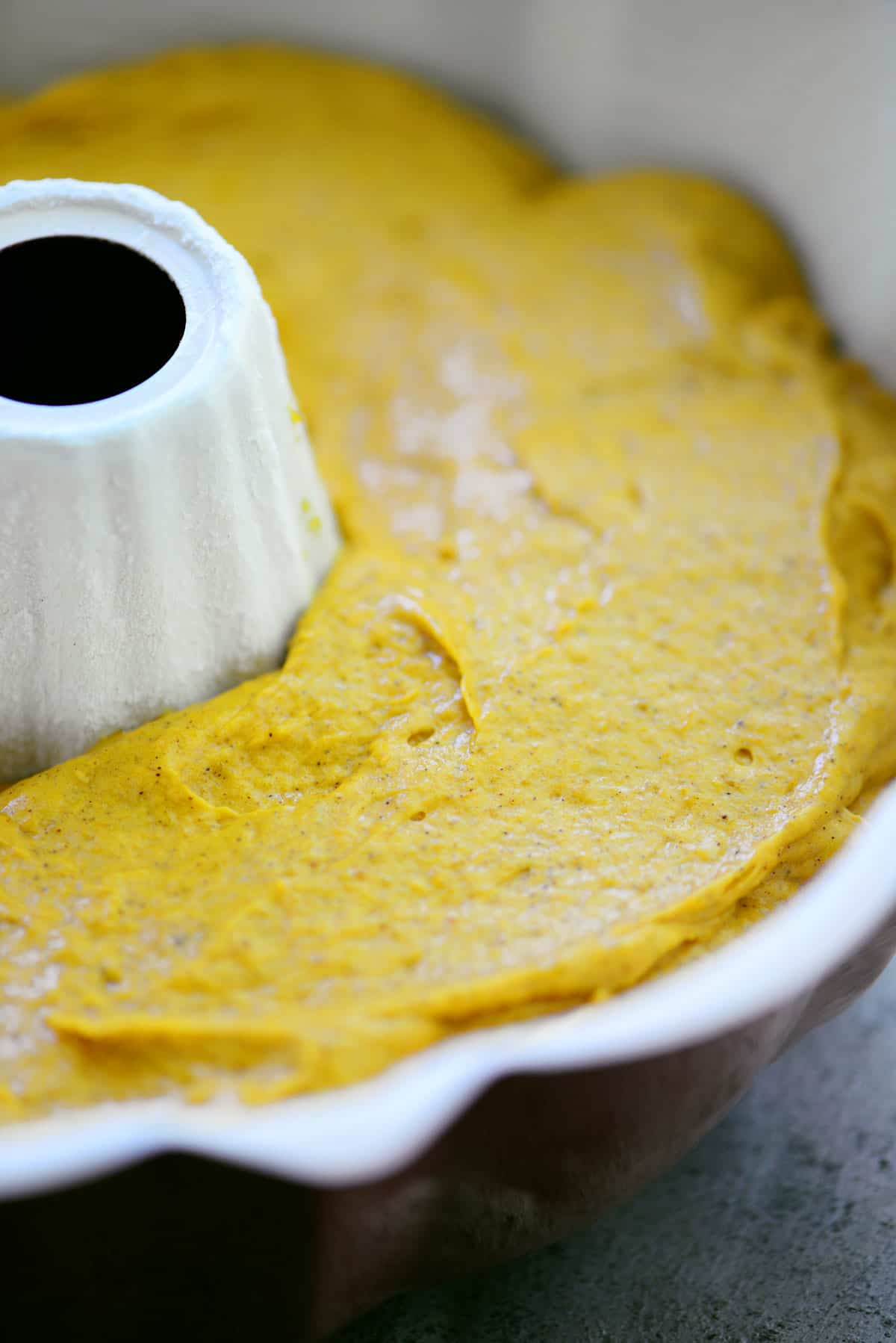 Pumpkin Bundt Cake batter in pan
