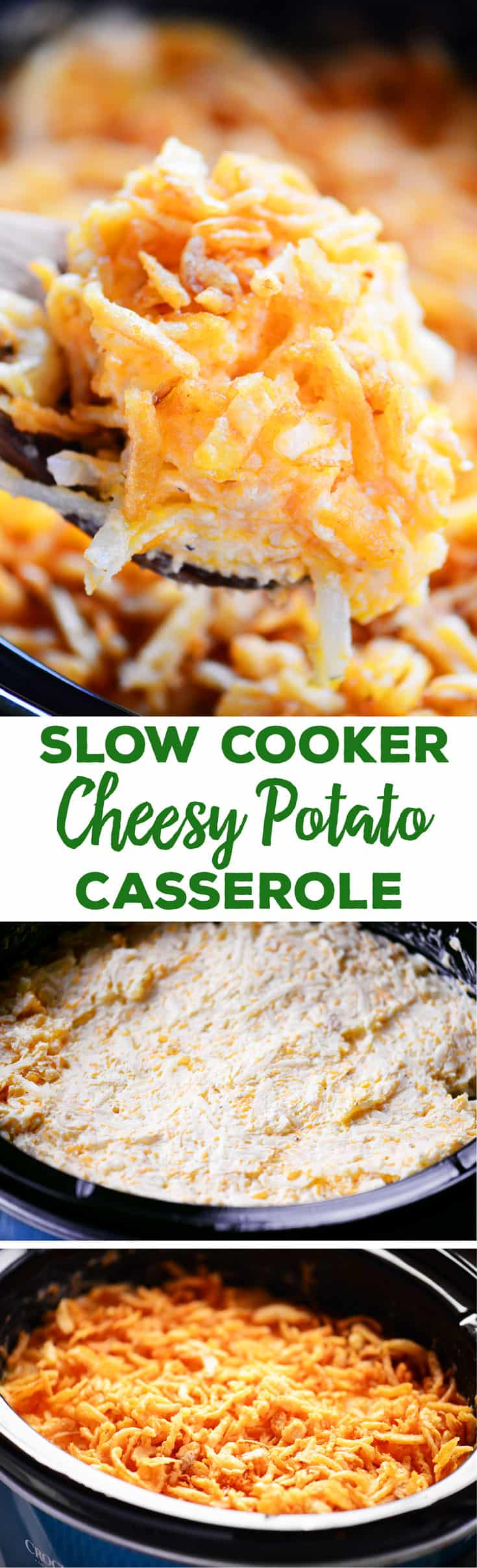 Slow Cooker Cheesy Potato Casserole is the ultimate comfort food and the best side dish for holiday parties and potlucks. Topped with French fried onions for more flavor! #slowcookerrecipes #potluck