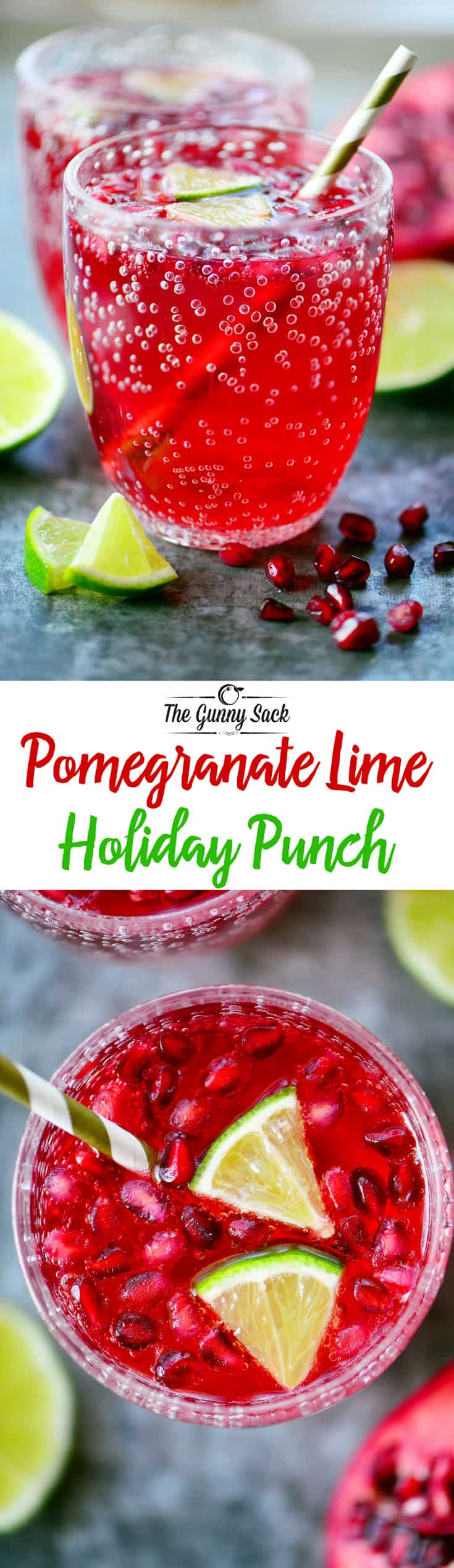 Sparkling Pomegranate Lime Holiday Punch is a pretty family-friendly drink that's perfect for holiday celebrations & parties from Thanksgiving to Christmas!