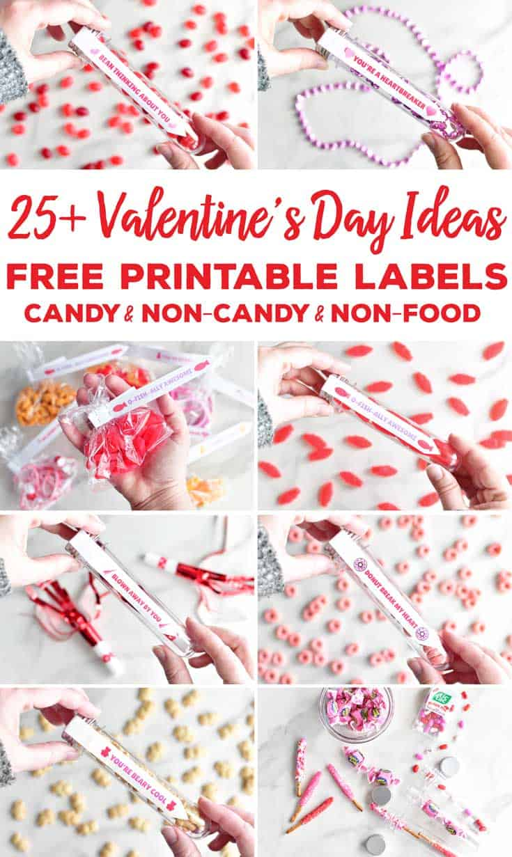 Here are 25+ Valentine's Day Ideas with FREE printable Valentine's Day Card test tube labels for the test tube Valentines or use them for Valentine's Day treat bags including candy filled Valentines, non-candy Valentine's Day ideas, and non-food Valentine's Day Ideas. #valentinesdayideas #freeprintables