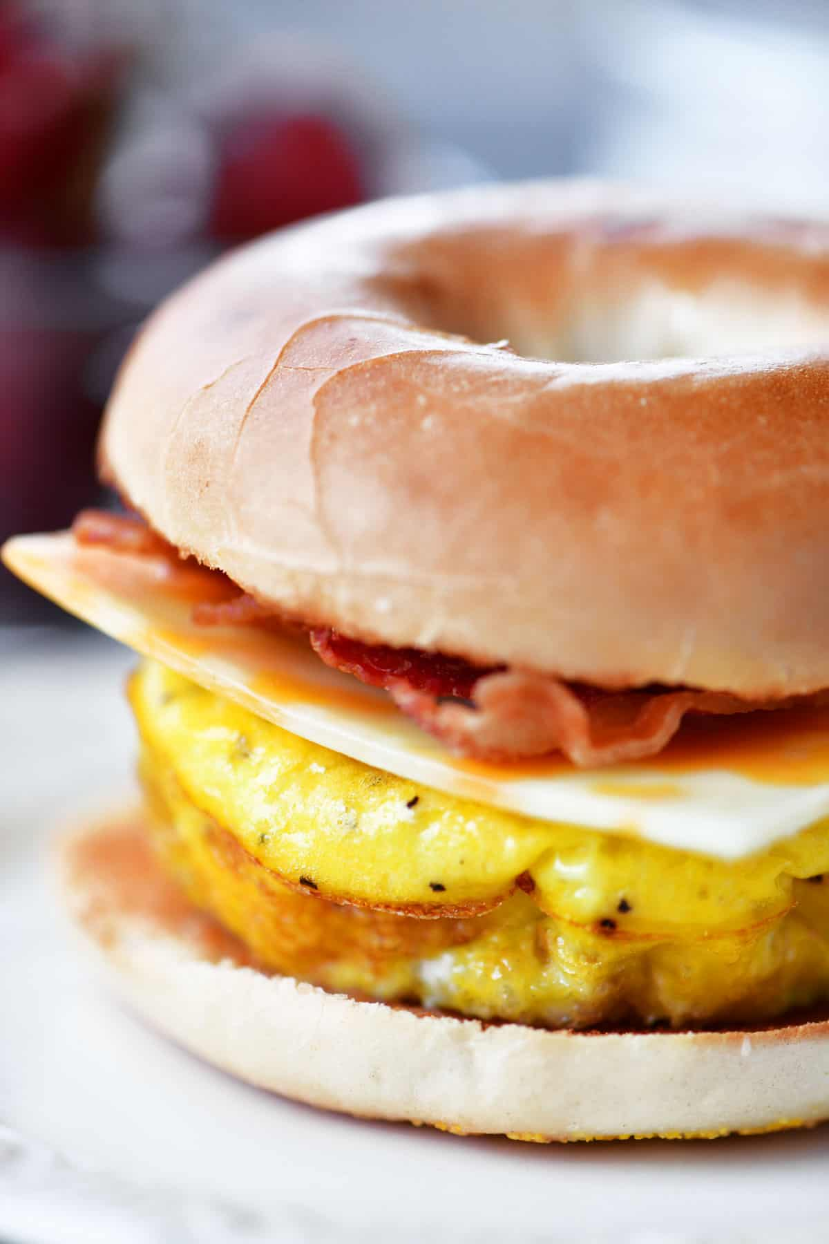 Bacon Egg Cheese Bagel Sandwich