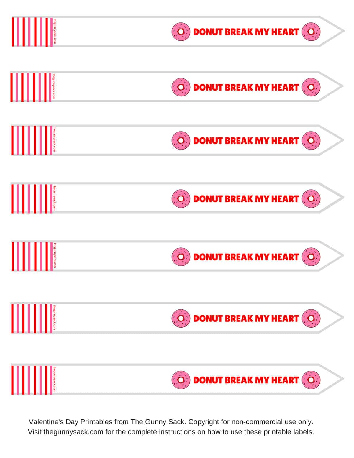Donut Break My Heart Test Tube Printable Labels