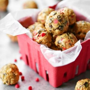 chocolate cherry energy balls protein bites in red berry basket