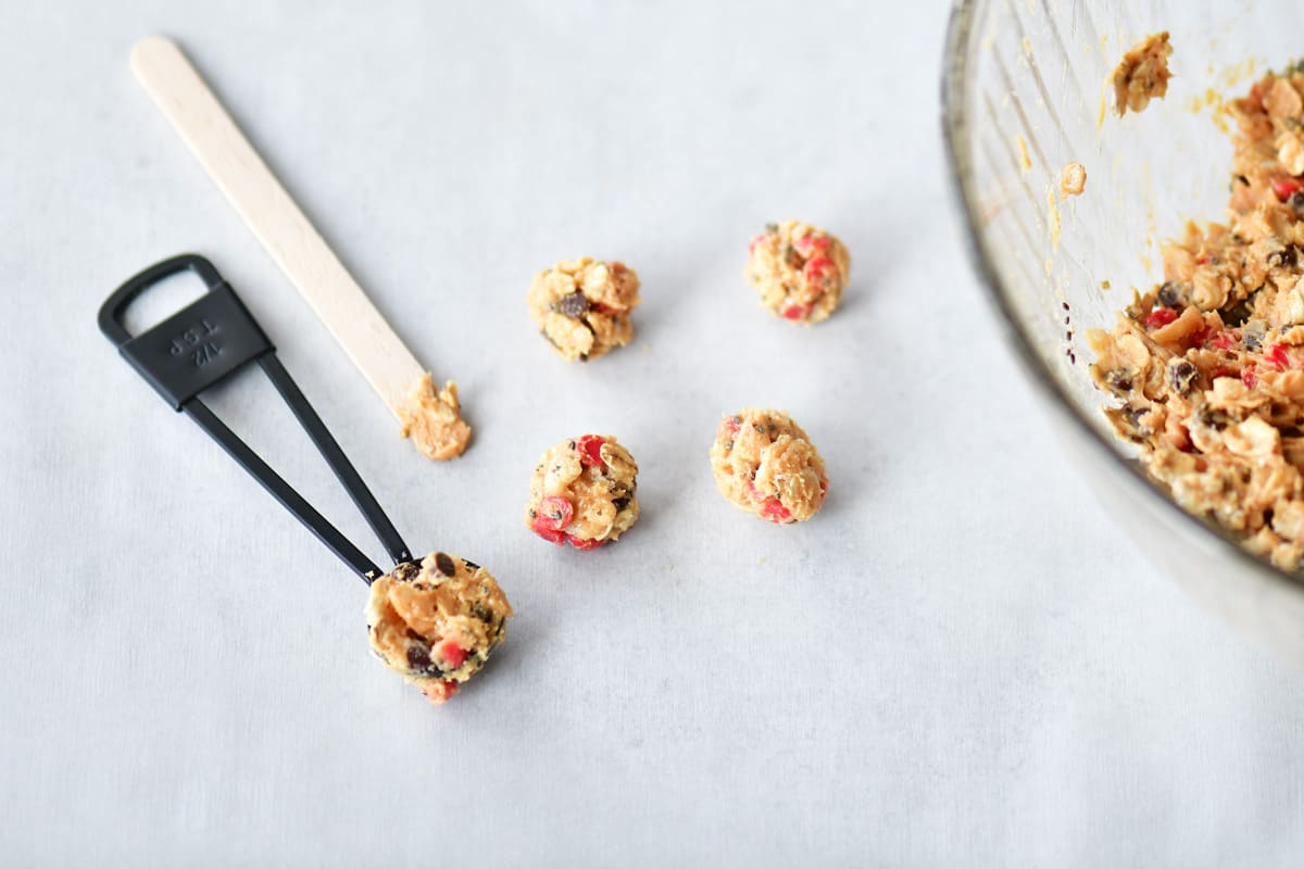 teaspoon for mini chocolate cherry energy balls