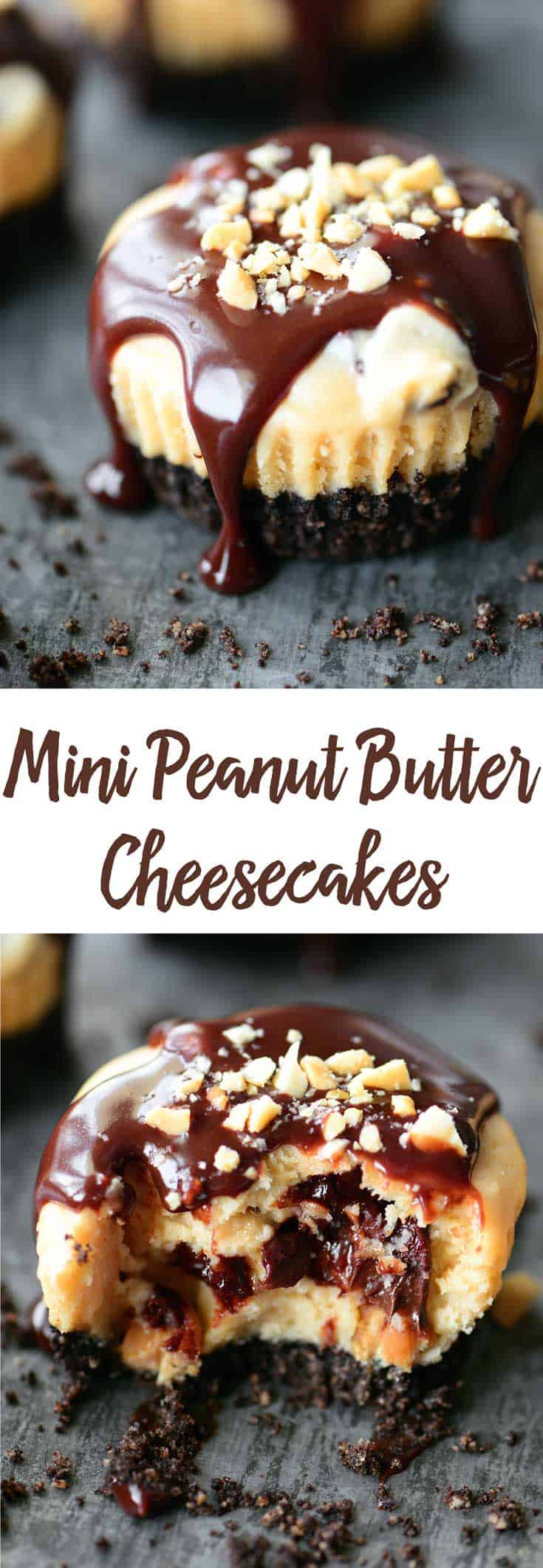 mini peanut butter cheesecakes collage for Pinterest