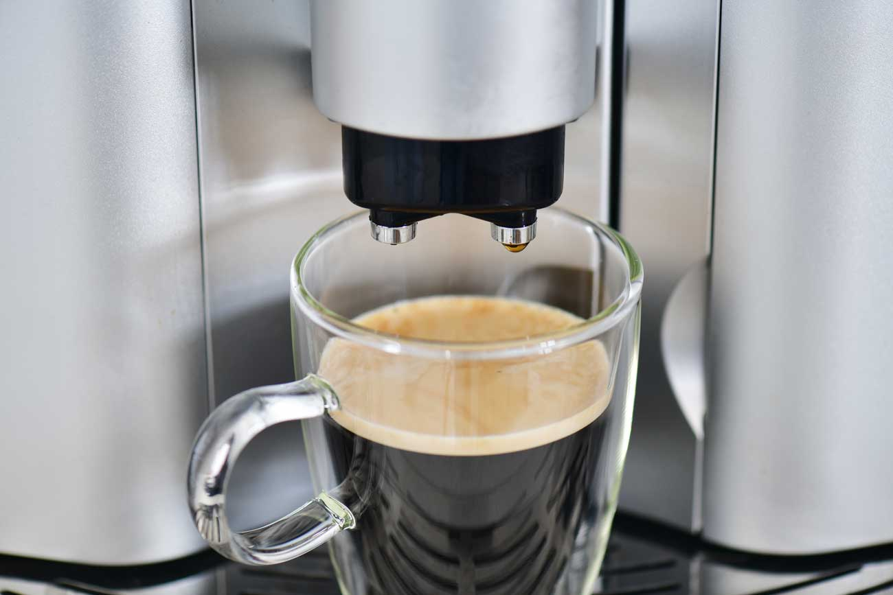 cup of espresso from a Delonghi Espresso Machine
