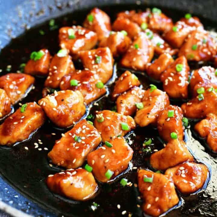 honey garlic chicken in a saucepan