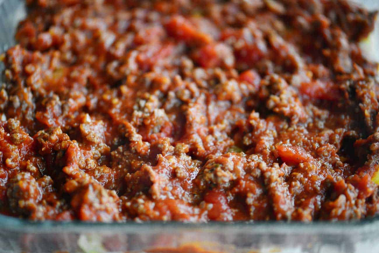 meat sauce in casserole dish for million dollar spaghetti squash
