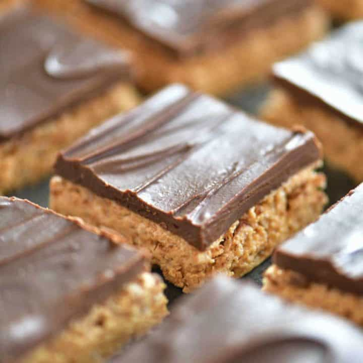 cut peanut butter bars lined up