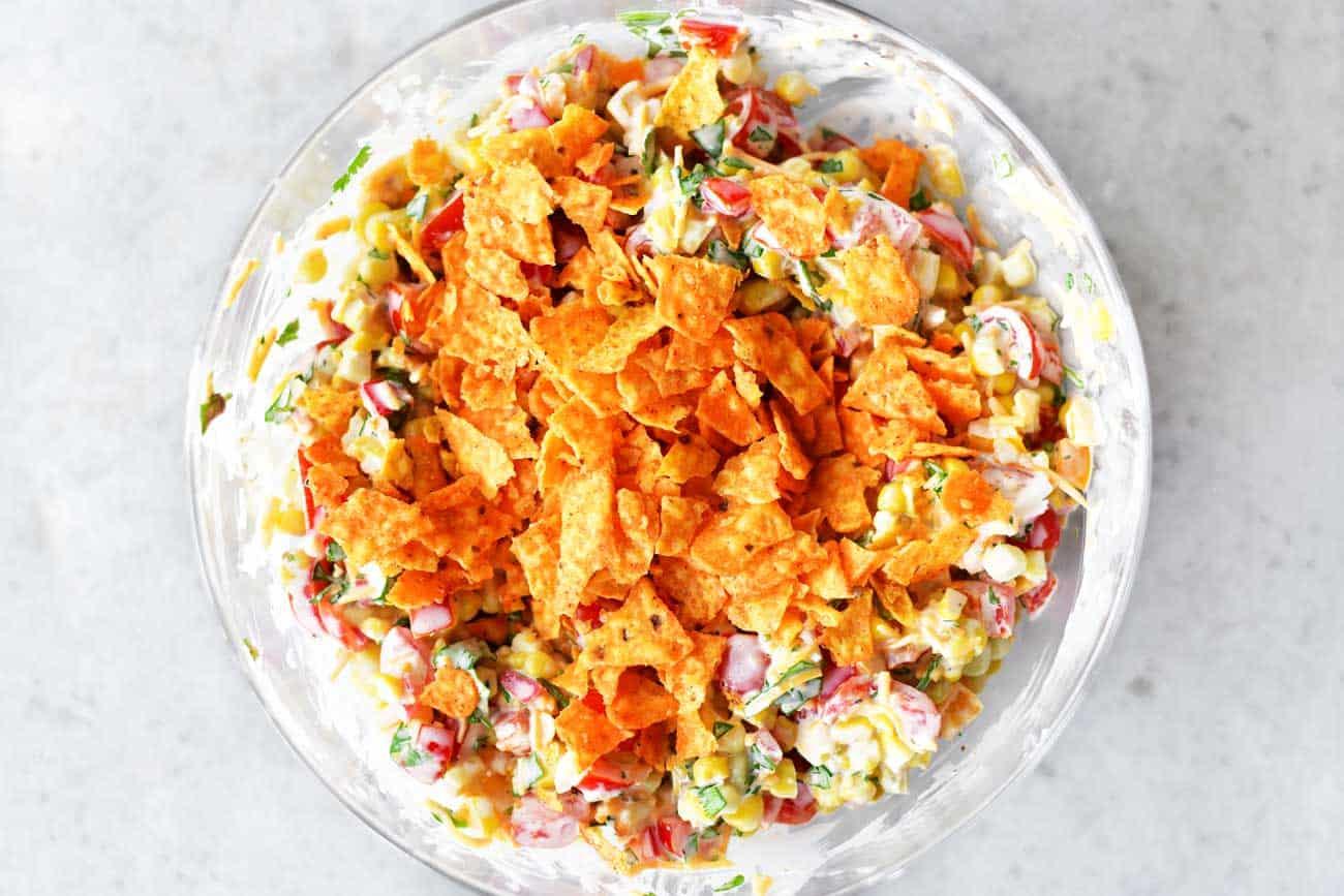 corn salad topping with crushed Doritos