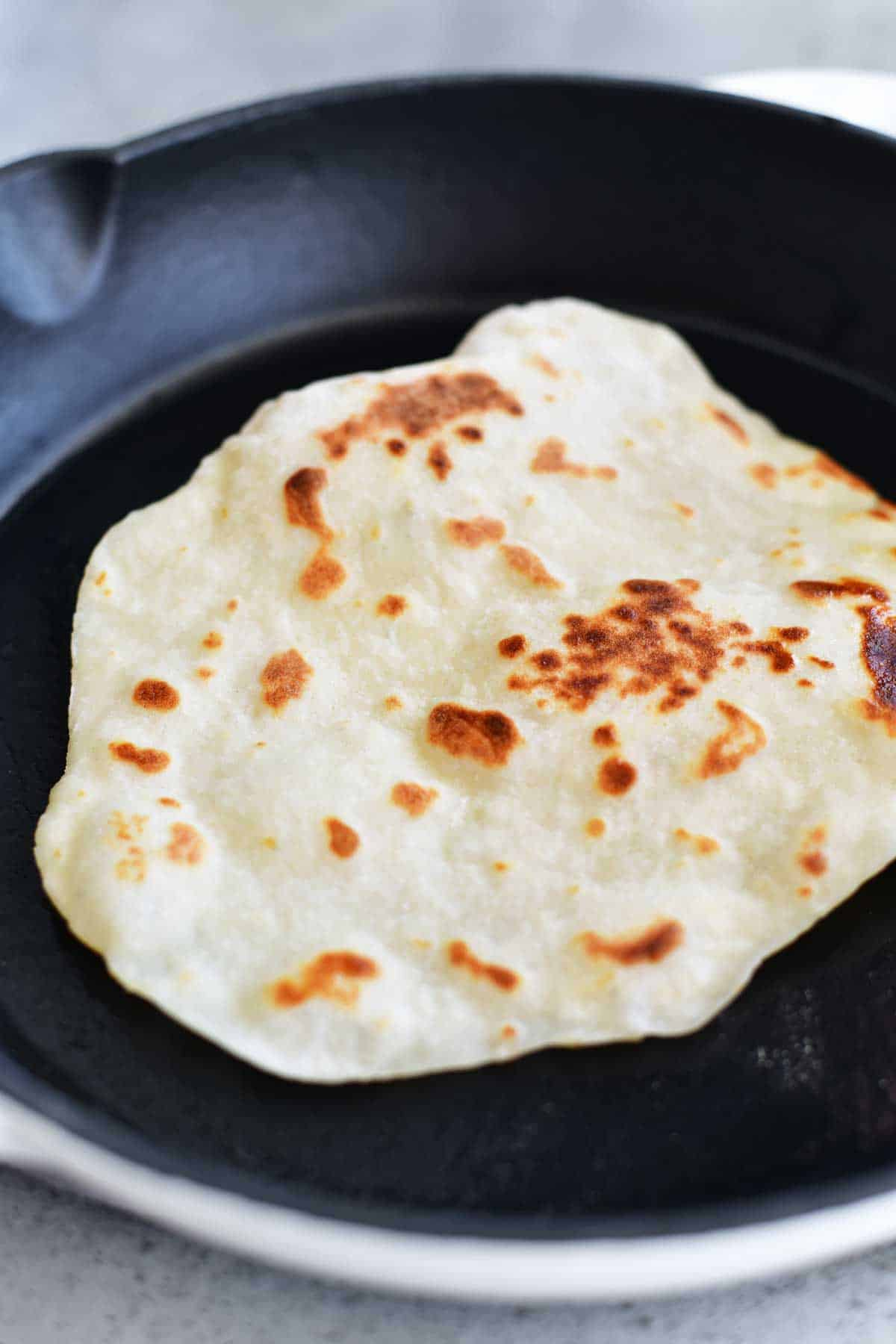 frying no yeast dough for naan flatbread