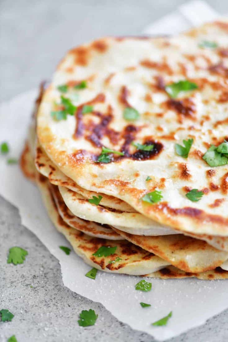 Two Ingredient Dough Naan Flatbread The Gunny Sack