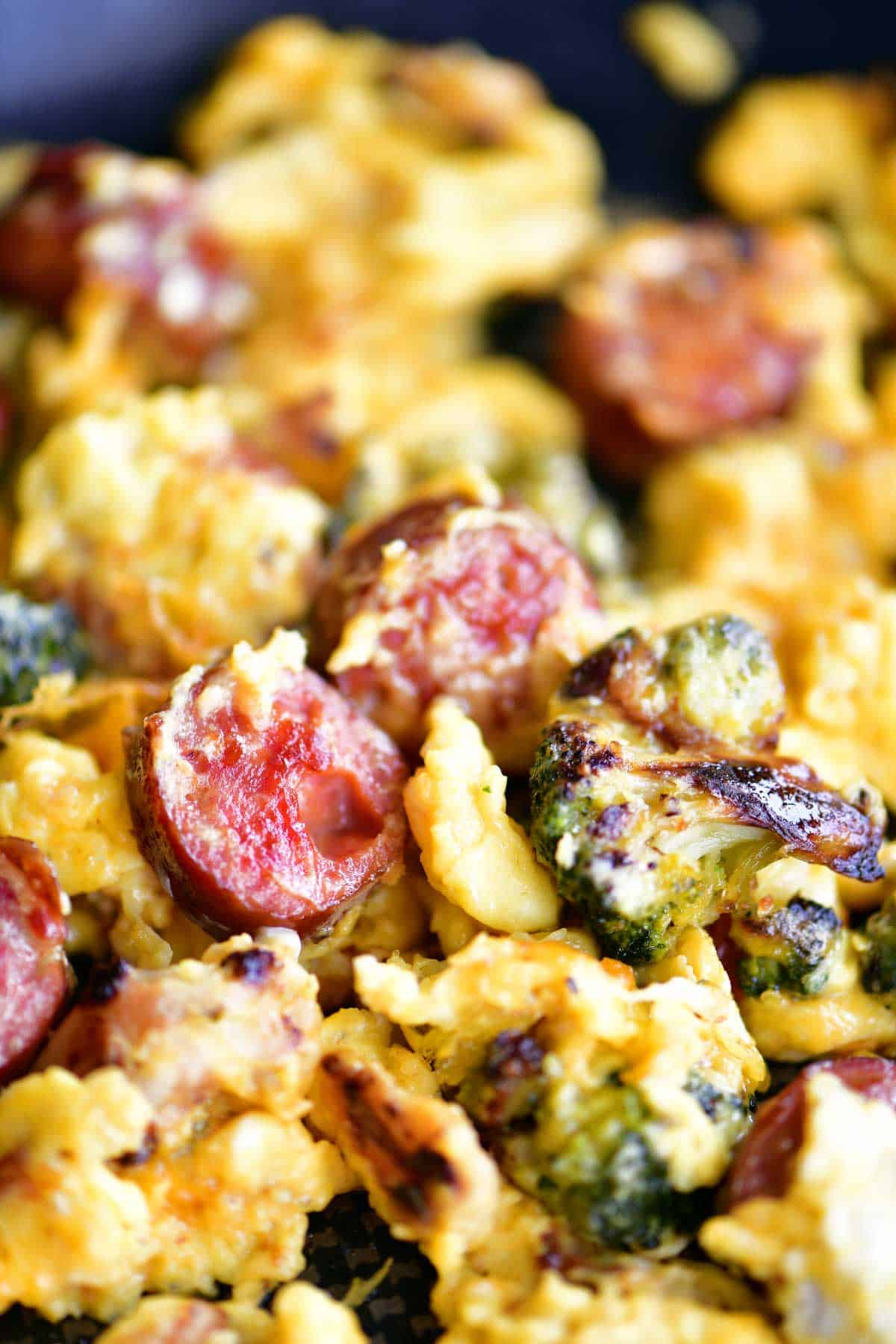 Breakfast Skillet Recipe Sausage, Broccoli, and Scrambled Eggs