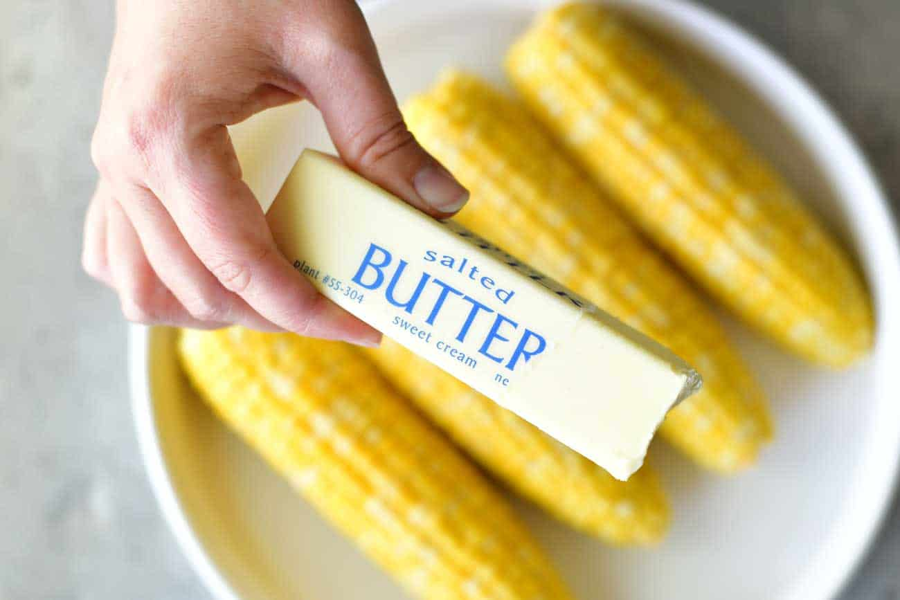 butter stick trick for boiled corn on the cob