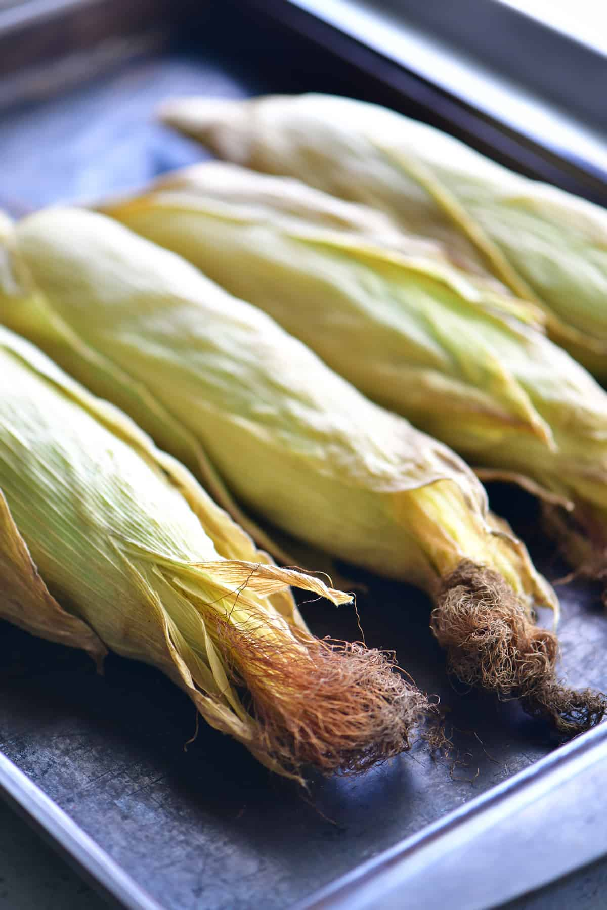 Oven roasted corn on the cob with the husks fully cooked