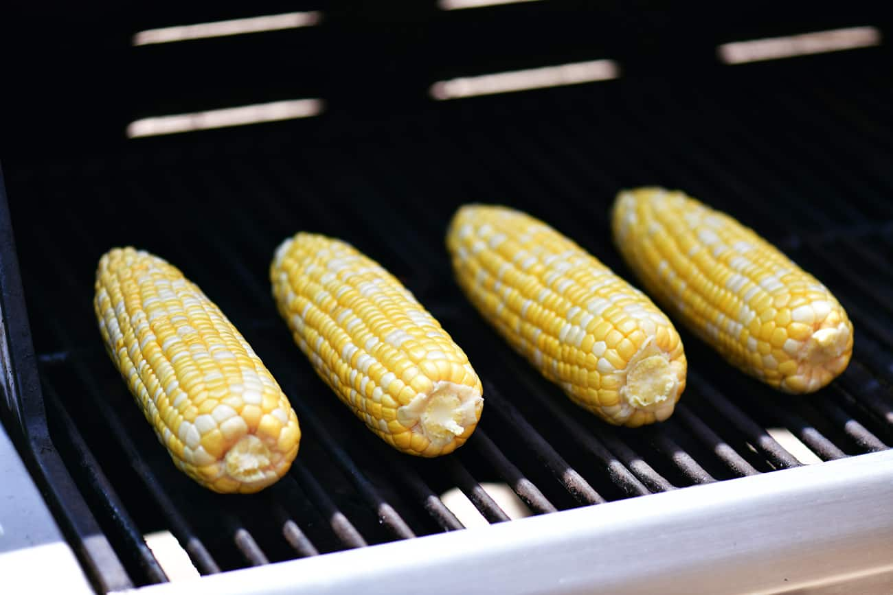 peeled corn on the cob on the grill